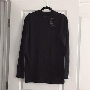 Men's Black Long Sleeve Boxy T-Shirt